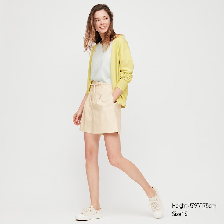 Women Belted Smart Shorts (Online Exclusive), Off White, Large