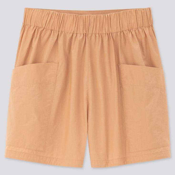 Women Cotton Poplin Cargo Shorts, Beige, Large
