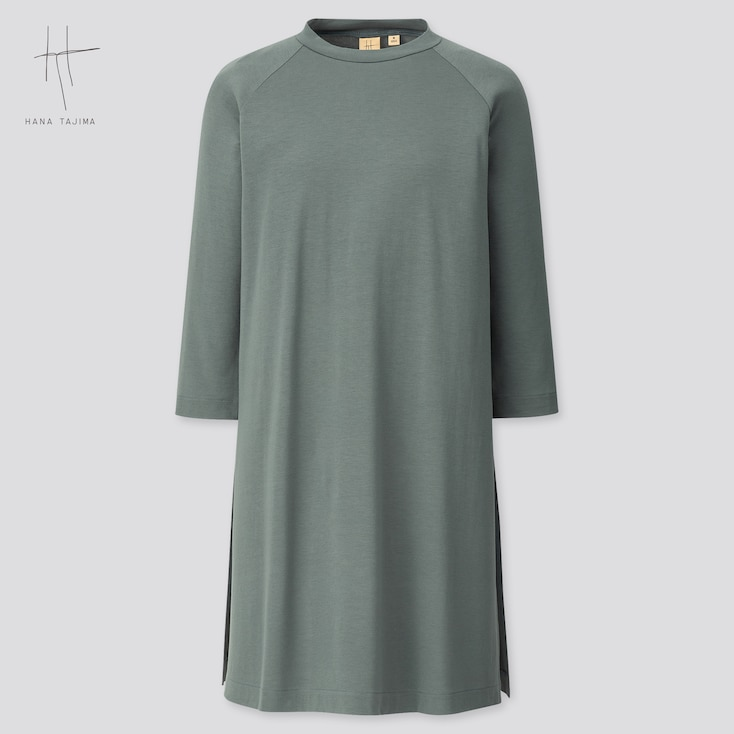 Women Rayon Crew Neck 3/4 Sleeve Tunic (Hana Tajima) (Online Exclusive), Green, Large