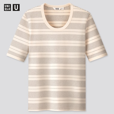 Women U Fitted Striped Short-Sleeve T-Shirt, Off White, Medium