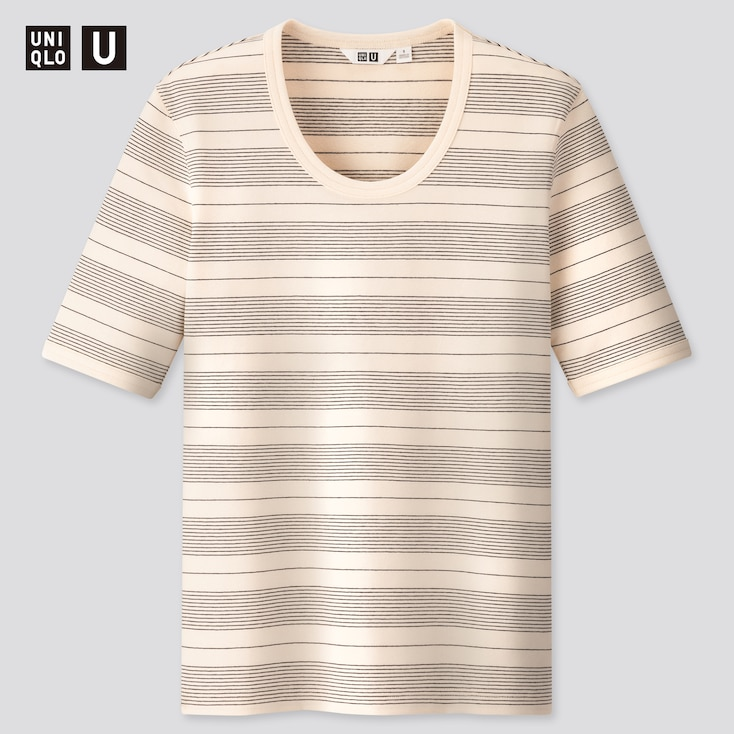 Women U Fitted Striped Short-Sleeve T-Shirt, Off White, Large