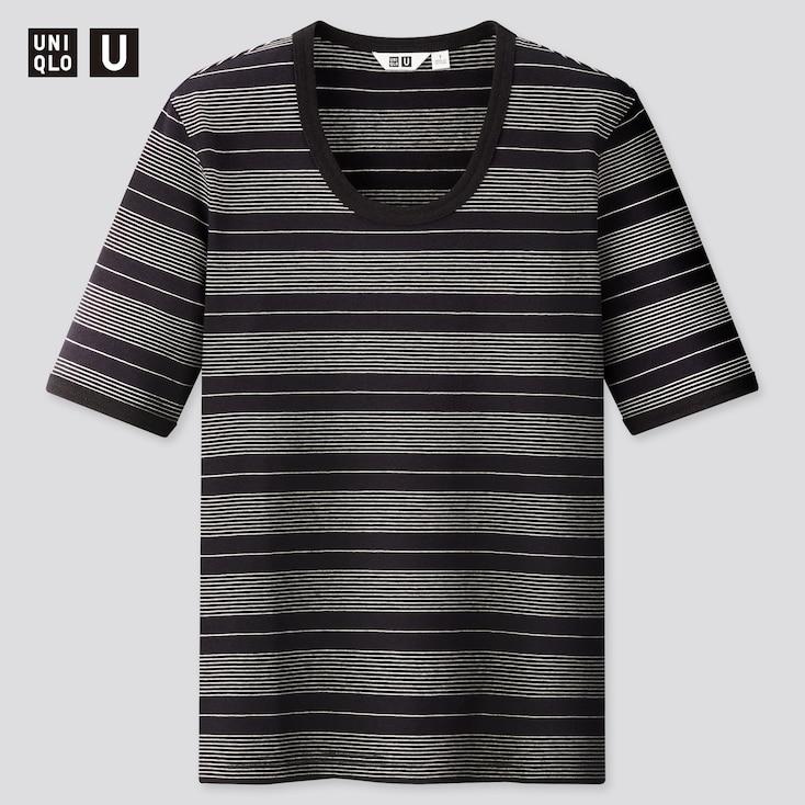 Women U Fitted Striped Short-Sleeve T-Shirt, Black, Large
