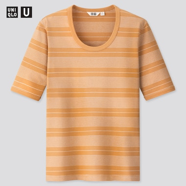 Women Uniqlo U Fitted Striped Short Sleeved T-Shirt