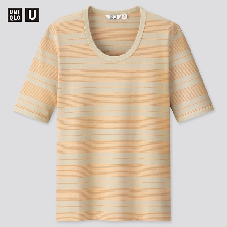Women U Fitted Striped Short-Sleeve T-Shirt, Light Green, Large