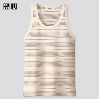 Women U Fitted Striped Tank Top, Off White, Medium