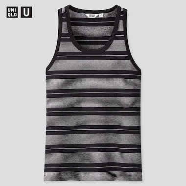 Women U Fitted Striped Tank Top, Black, Medium
