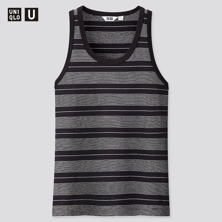 Women U Fitted Striped Tank Top, Black, Large