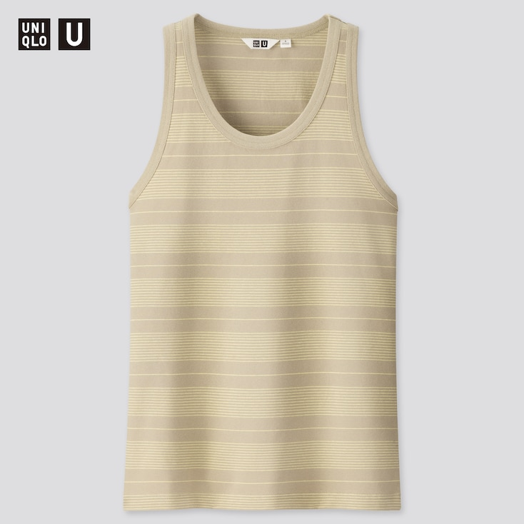 Women U Fitted Striped Tank Top, Light Green, Large