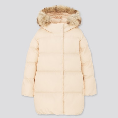 Girls Warm Padded Coat, Natural, Medium