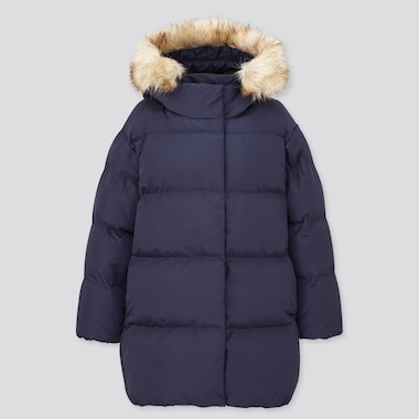 Girls Warm Padded Coat, Navy, Medium