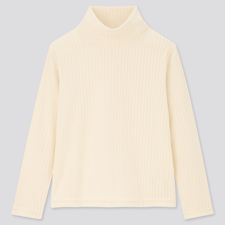 Kids Stretch Fleece Ribbed High-Neck Long-Sleeve T-Shirt (Online Exclusive), Off White, Large