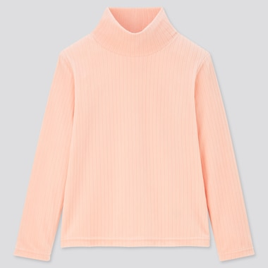 Kids Stretch Fleece Ribbed High-Neck Long-Sleeve T-Shirt (Online Exclusive), Pink, Medium