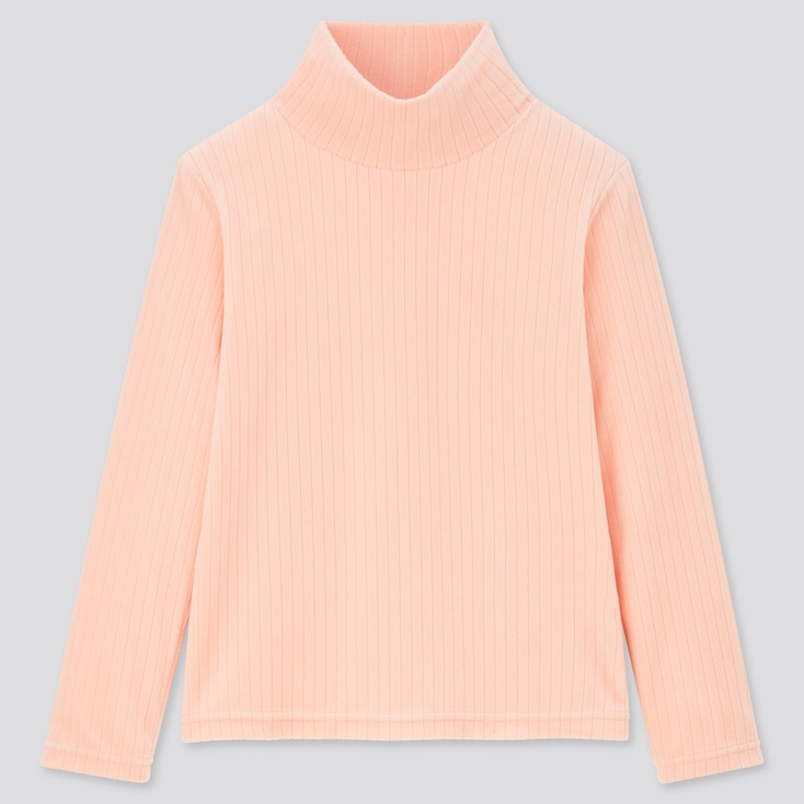 Kids Stretch Fleece Ribbed High-Neck Long-Sleeve T-Shirt (Online Exclusive), Pink, Large