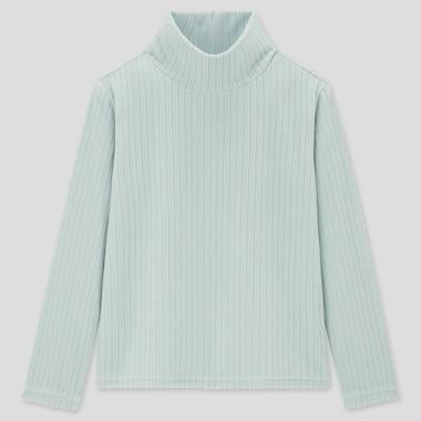 Kids Stretch Fleece Ribbed High-Neck Long-Sleeve T-Shirt (Online Exclusive), Light Blue, Medium