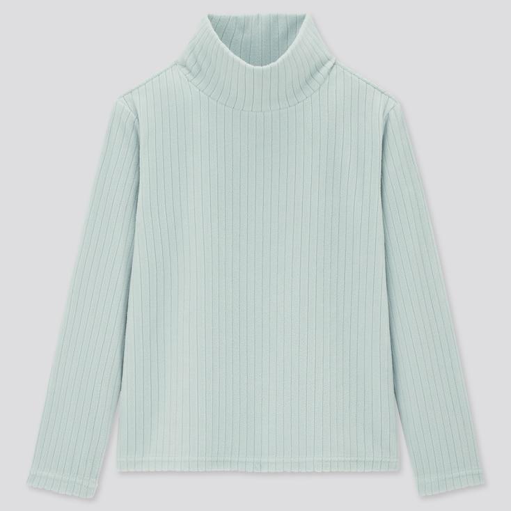 Kids Stretch Fleece Ribbed High-Neck Long-Sleeve T-Shirt (Online Exclusive), Light Blue, Large