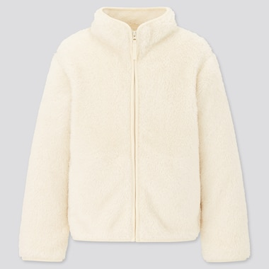 Kids Fluffy Yarn Fleece Zipped Jacket