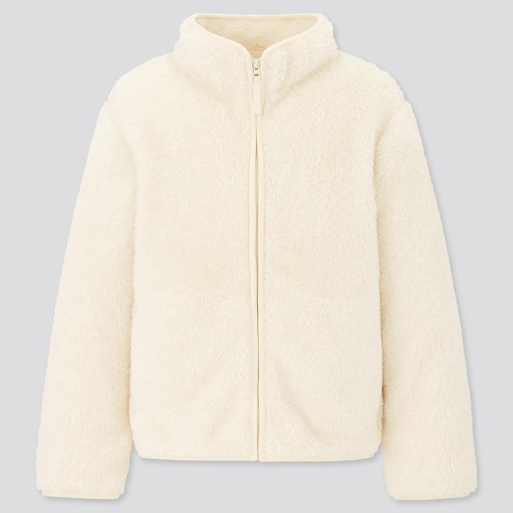Kids Fluffy Yarn Fleece Long-Sleeve Jacket, Off White, Large