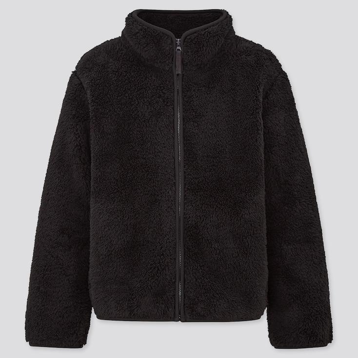 Kids Fluffy Yarn Fleece Long-Sleeve Jacket, Black, Large