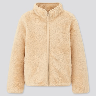 Kids Fluffy Yarn Fleece Long-Sleeve Jacket, Beige, Medium