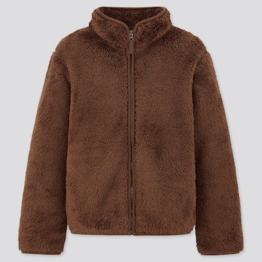 Kids Fluffy Yarn Fleece Long-Sleeve Jacket, Dark Brown, Medium