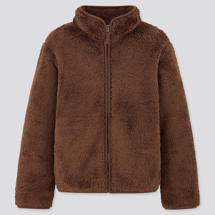 Kids Fluffy Yarn Fleece Long-Sleeve Jacket, Dark Brown, Large