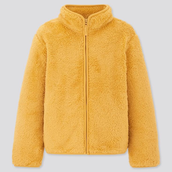 Kids Fluffy Yarn Fleece Long-Sleeve Jacket, Yellow, Large