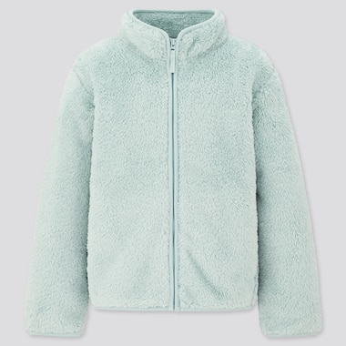Kids Fluffy Yarn Fleece Long-Sleeve Jacket, Light Blue, Medium