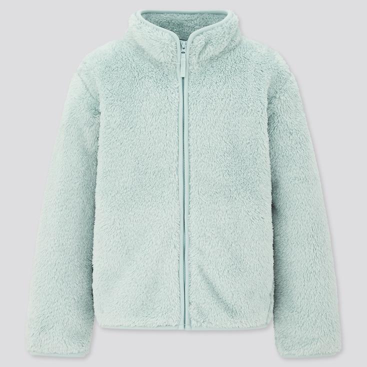 Kids Fluffy Yarn Fleece Long-Sleeve Jacket, Light Blue, Large