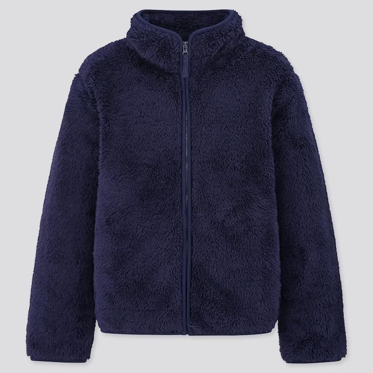 Kids Fluffy Yarn Fleece Long-Sleeve Jacket, Navy, Large