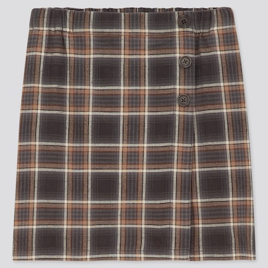Girls Flannel Checked Skort, Dark Gray, Medium