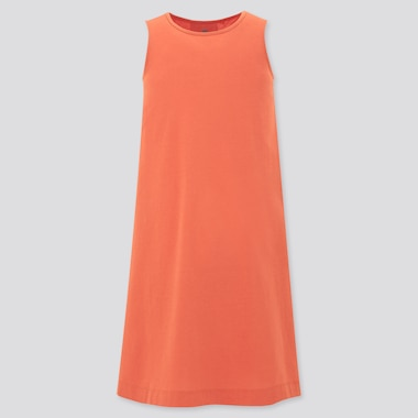 Girls Mercerized Cotton Sleeveless Dress, Orange, Medium