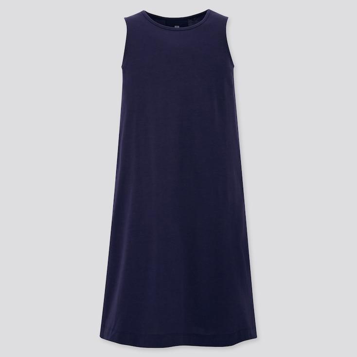 Girls Mercerized Cotton Sleeveless Dress, Navy, Large