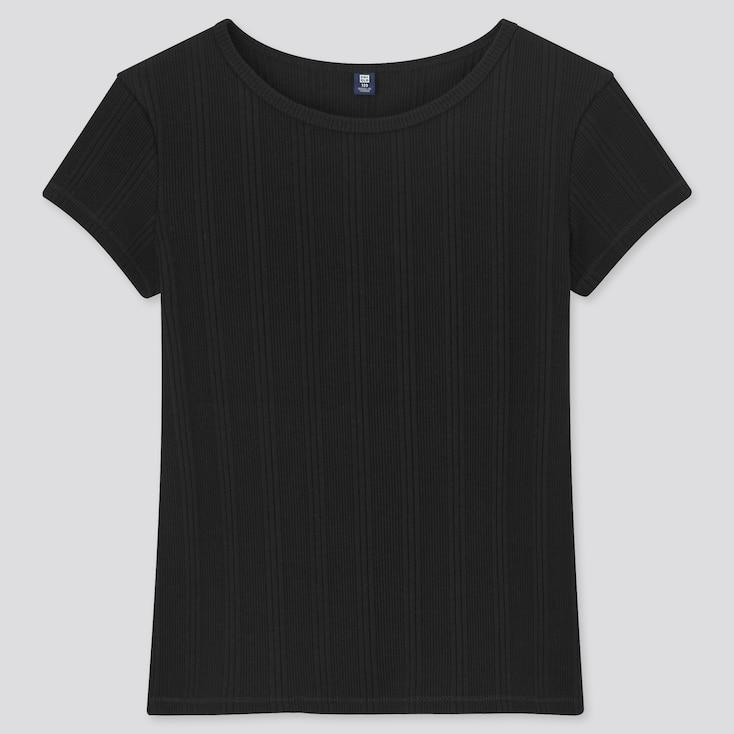 Girls Ribbed Short-Sleeve T-Shirt, Black, Large