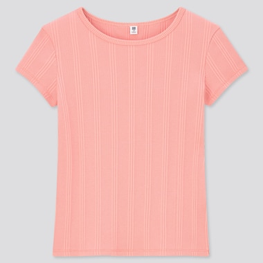 Girls Ribbed Short-Sleeve T-Shirt, Pink, Medium