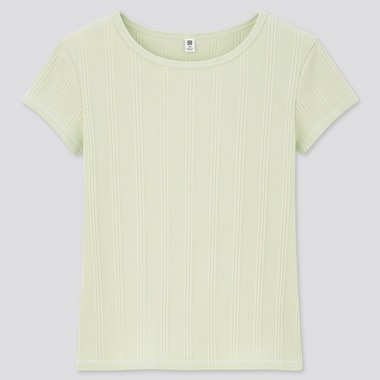 Girls Ribbed Short-Sleeve T-Shirt, Green, Medium