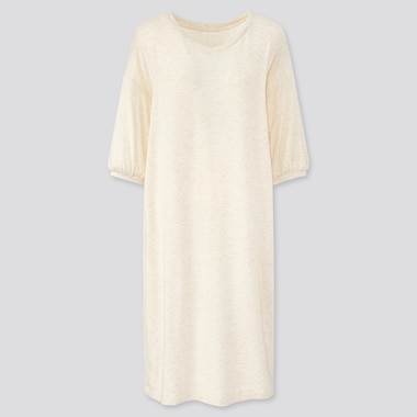 Women Ultra Stretch Soft 3/4 Sleeve Dress, Natural, Medium