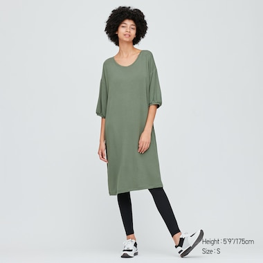 Women Ultra Stretch Soft 3/4 Sleeve Dress, Green, Medium