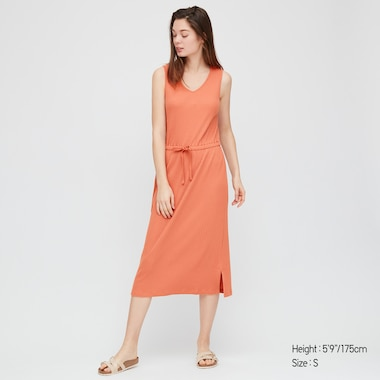 Women Pointelle Sleeveless Lounge Dress, Orange, Medium