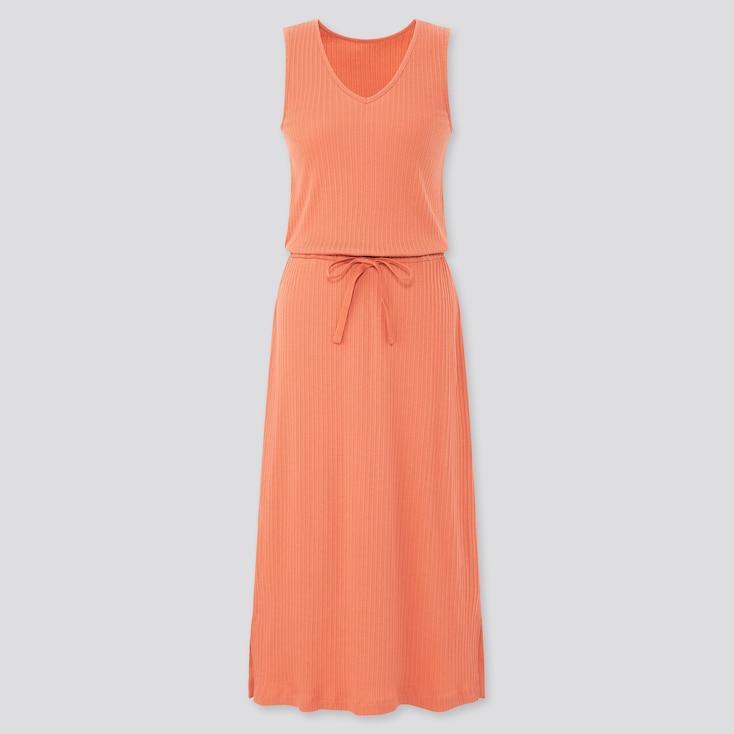 Women Pointelle Sleeveless Lounge Dress, Orange, Large