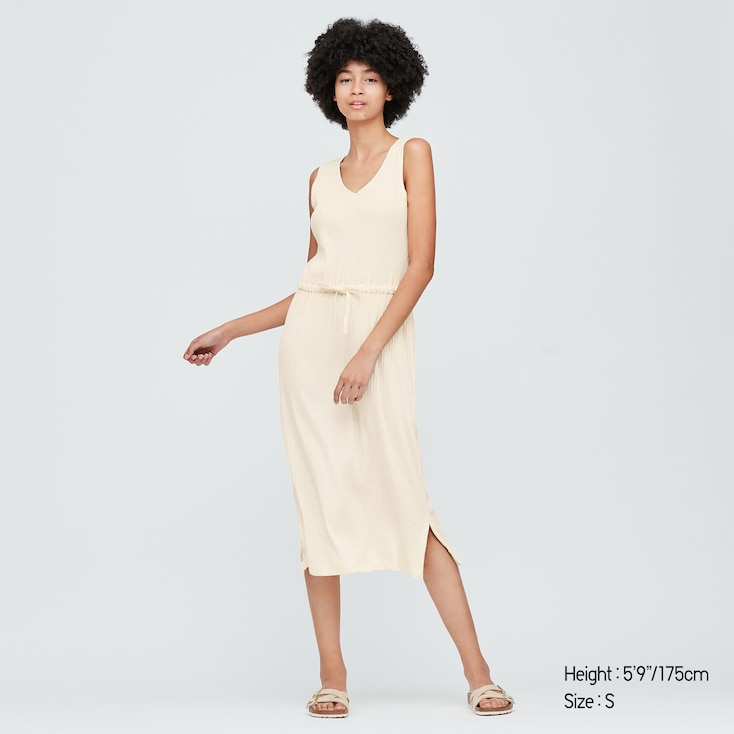 Women Pointelle Sleeveless Lounge Dress, Natural, Large