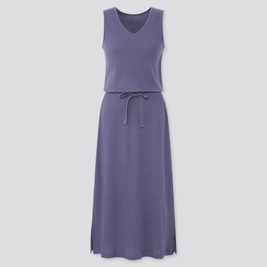 Women Pointelle Sleeveless Lounge Dress, Blue, Medium