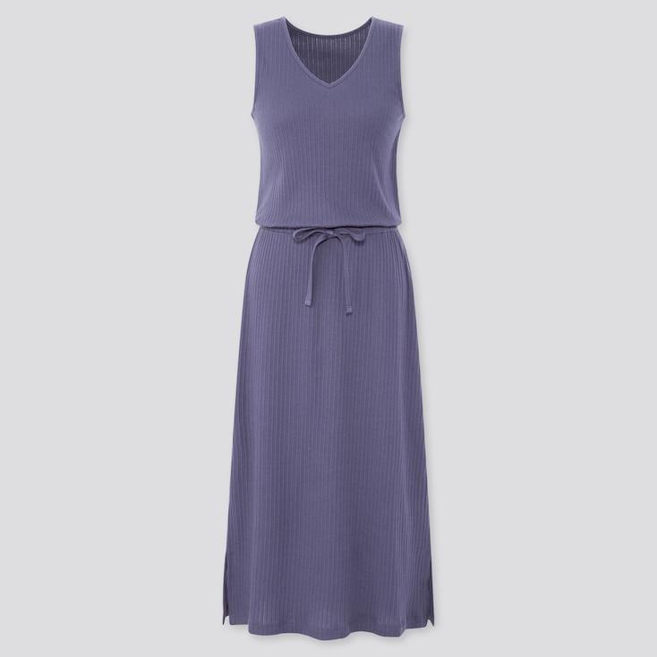 Women Pointelle Sleeveless Lounge Dress, Blue, Large