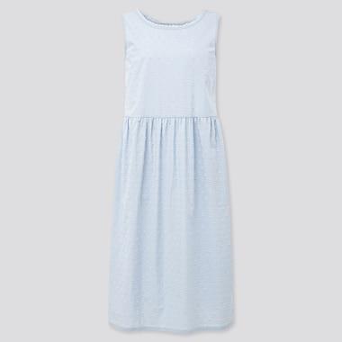 Women Light Cotton Sleeveless Lounge Dress, Light Blue, Medium