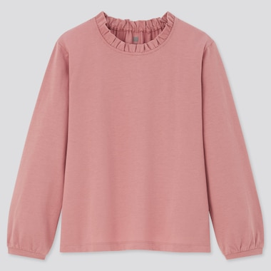 Girls Mercerised Cotton Frill Long Sleeved T-Shirt