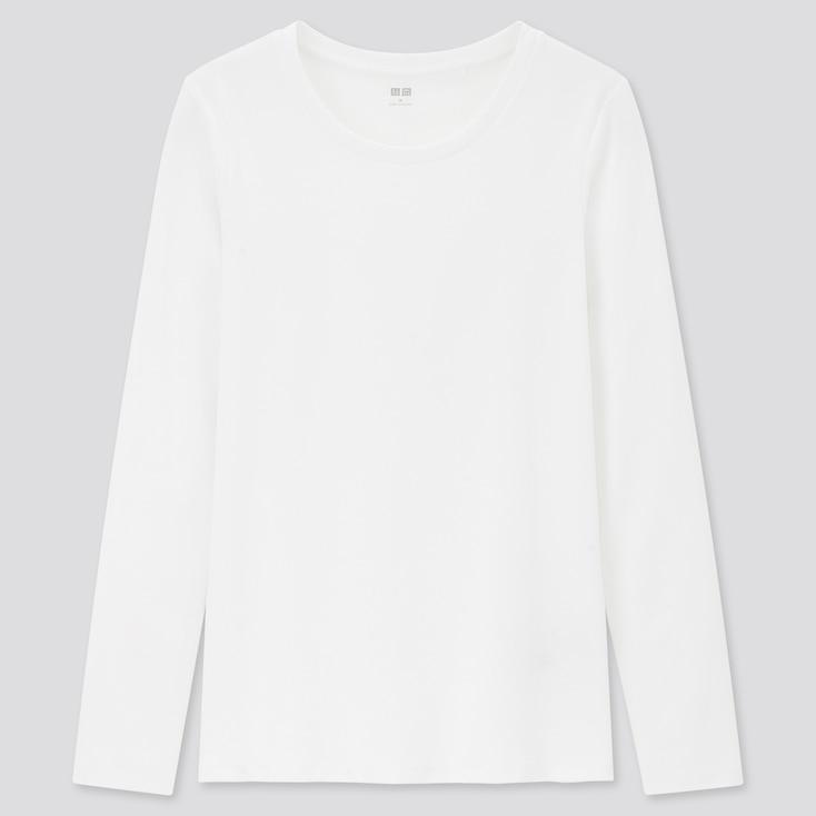 Women Stretch Cotton Crew Neck Long-Sleeve T-Shirt, White, Large
