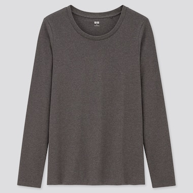 Women Stretch Cotton Crew Neck Long-Sleeve T-Shirt, Dark Gray, Medium