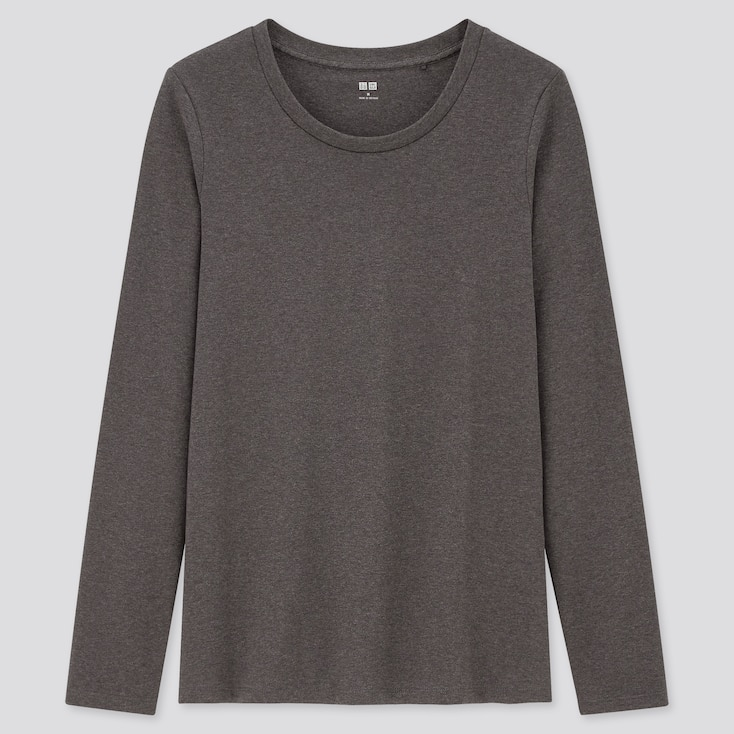 Women Stretch Cotton Crew Neck Long-Sleeve T-Shirt, Dark Gray, Large