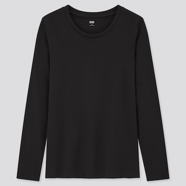 Women Cotton Stretch Crew Neck Long Sleeved T-Shirt