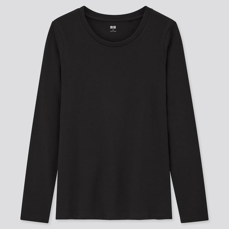 Women Stretch Cotton Crew Neck Long-Sleeve T-Shirt, Black, Large