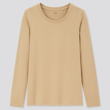 Women Stretch Cotton Crew Neck Long-Sleeve T-Shirt, Beige, Medium